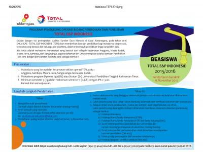 BEASISWA TOTAL E&P INDONESIA 2015/ 2016