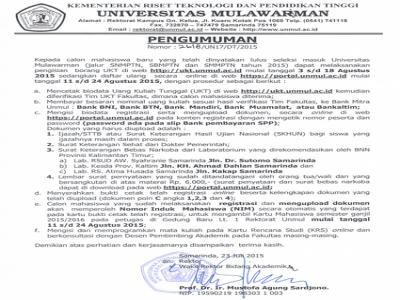 Pengumuman Pengisian Borang UKT dan Daftar Ulang